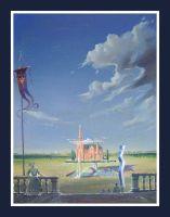 osijek---vii,-pješački-most-bez-drave,-dvije-katedrale---ulje-na-platnu-35x45