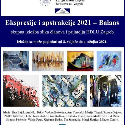 """Skupna izložba u Europskom domu Zagreb: """"Ekspresije i apstrakcije 2021 – Balans"""""""