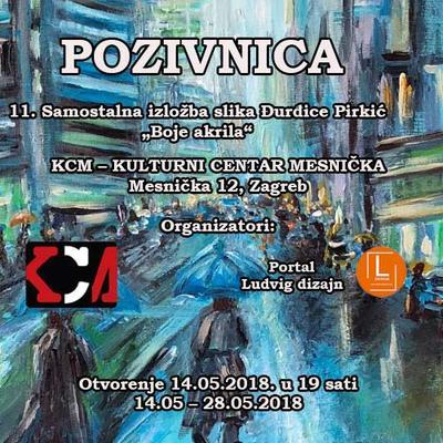 """11. Samostalna izložba slika Đurđice Pirkić """"Boje akrila"""""""